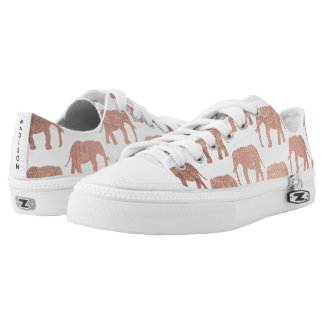 Simple rose gold wild elephants pattern Low-Top sneakers