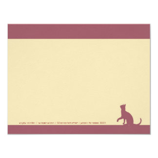 Simple Rose Pink Cat Silhouette Note Cards