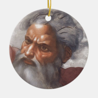 Simple Round Holiday Tree Ornament with God's Face