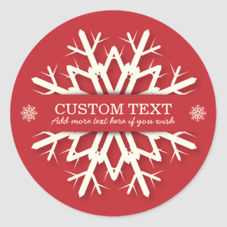 Simple Round/Square Red+White Snowflake Christmas Classic Round Sticker