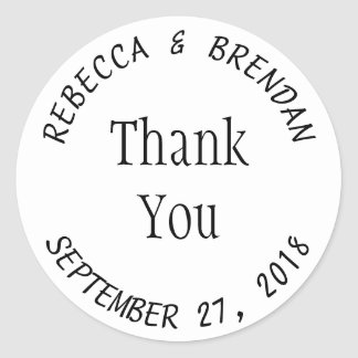 Simple Round White Curved Text Favor Labels
