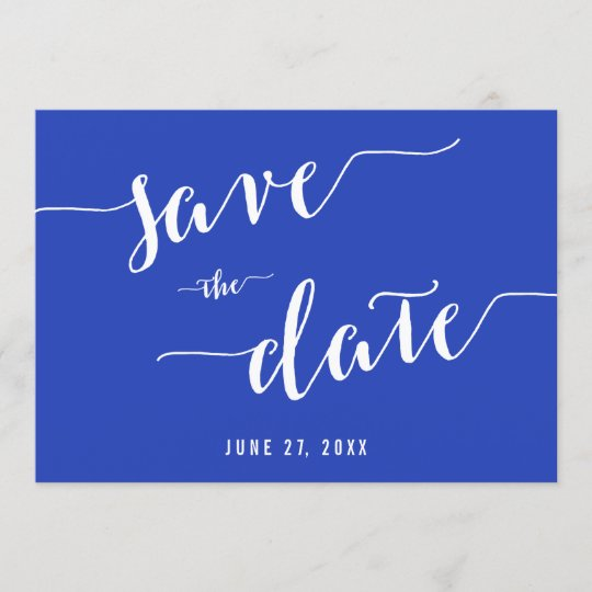 Simple Royal Blue Save The Date Invitation Cards