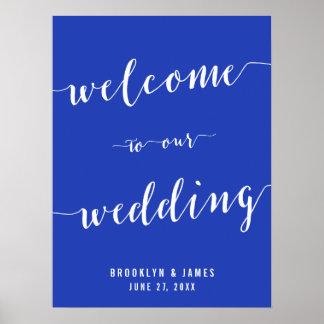 Simple Royal Blue Wedding Reception Sign Print