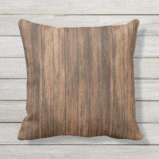 Simple Rustic Barn Yarn Wood Throw Pillow