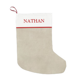 Simple Rustic Beige and Red Personalized Stocking