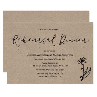 Simple Rustic Botanical Floral Rehearsal Dinner Card