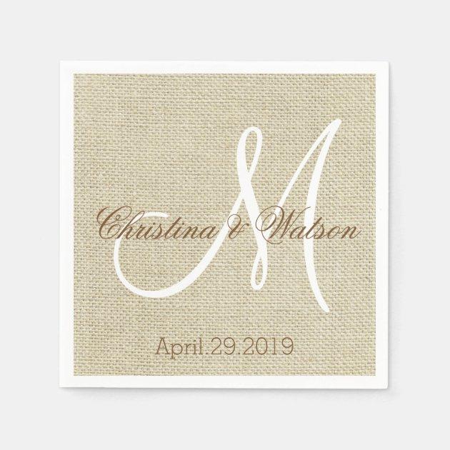 Simple Rustic Burlap Wedding Monogrammed Paper Napkin Zazzle