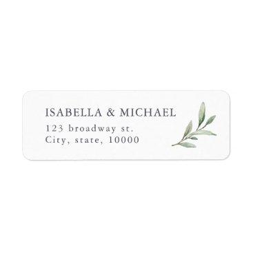 Simple rustic greenery wedding return address label