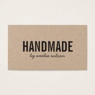 Simple Rustic Handmade Social Media Kraft Business Card