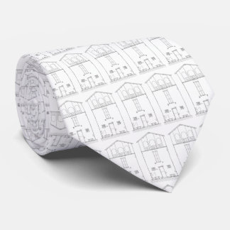 Simple Rustic House Modern Black and White Drawing Neck Tie