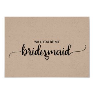 Simple Rustic Kraft Modern Calligraphy Bridesmaid Card