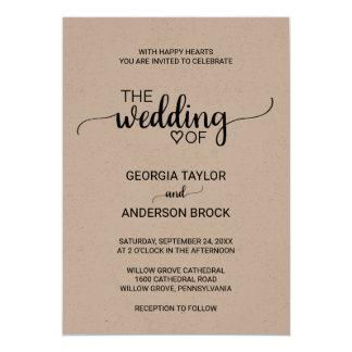 Captivating Simple Rustic Kraft Modern Calligraphy Wedding Card