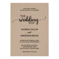 Simple Rustic Kraft Modern Calligraphy Wedding Invitation