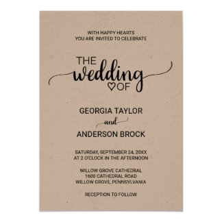 Simple Rustic Kraft Modern Calligraphy Wedding Invitation