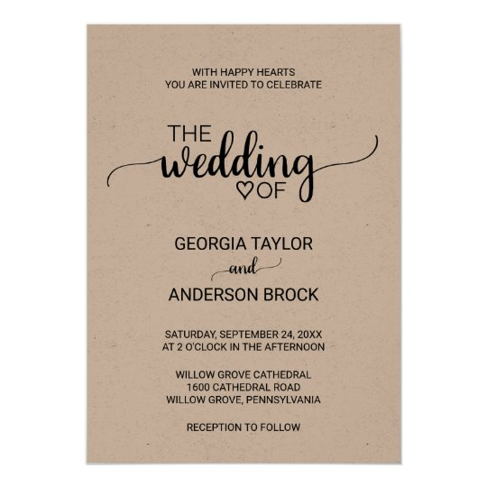 Simple Rustic Kraft Modern Calligraphy Wedding Invitation | Zazzle.com