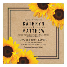 Simple Rustic Kraft Sunflower Wedding Invitations