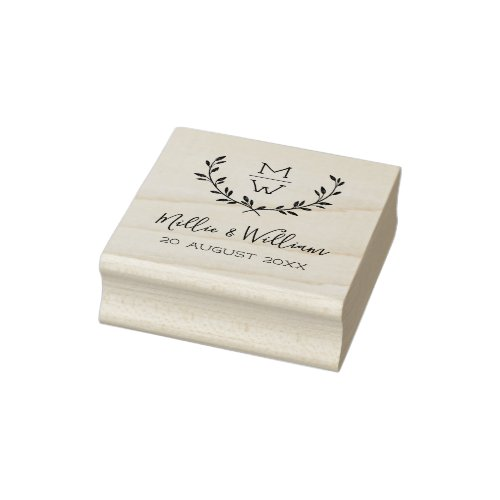 Simple Rustic Monogram Wreath Custom Wedding Rubber Stamp
