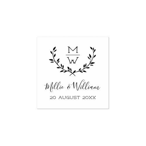 Simple Rustic Monogram Wreath Custom Wedding Rubber Stamp