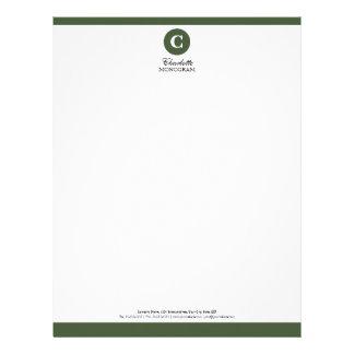 Simple Sage Green and White Monogram Letterhead