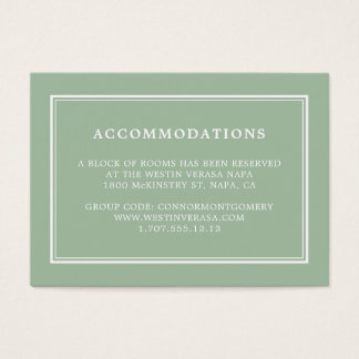 Simple Sage Green Wedding Hotel Accommodation Card