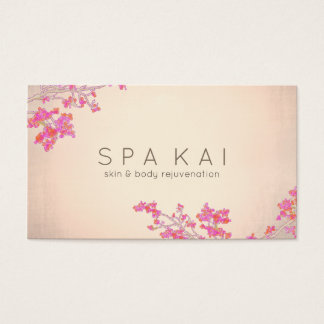 Simple Salon and Spa Pink Floral Rose Gold Business Card