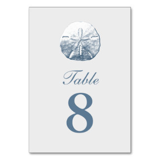 Simple Sand Dollar Silver Table Numbers Card