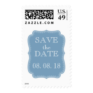SIMPLE SAVE THE DATE | BLUE POSTAGE STAMPS