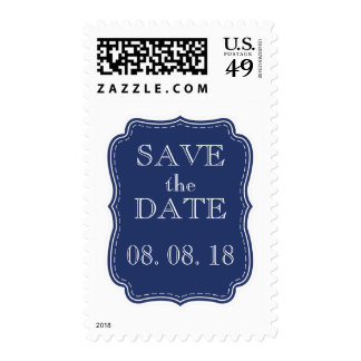 SIMPLE SAVE THE DATE | NAVY BLUE WHITE POSTAGE STAMPS