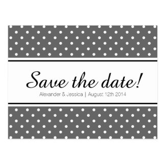 Simple save the date postcards | white polka dots