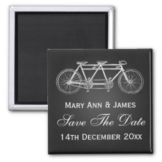Simple Save The Date Tandem Bike Black 2 Inch Square Magnet