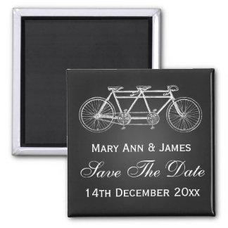 Simple Save The Date Tandem Bike Black Magnet