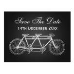 Simple Save The Date Tandem Bike Black Postcard