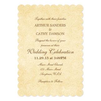 Simple Scalloped Vintage Wedding Invitation