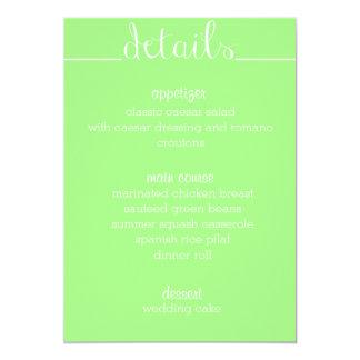 "Simple Script Menu Card- lime 5"" X 7"" Invitation Card"