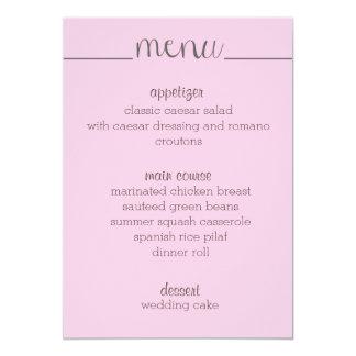 "Simple Script Menu Card- pink 5"" X 7"" Invitation Card"