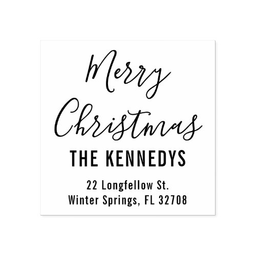 Simple Script Merry Christmas Family Address Rubber Stamp