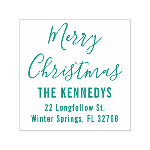 Simple Script Merry Christmas Family Address Self_inking Stamp