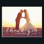 """Simple Script Photo Wedding Thank You Postcard<br><div class=""""desc"""">No &quot;postcard&quot; word on the back of card. Place two photos on your wedding thank you cards, one on the front and a second photo on the back. Send out your wedding thank you message as newly weds to your friends and family using this beautifully, simple thank you wedding photo...</div>"""
