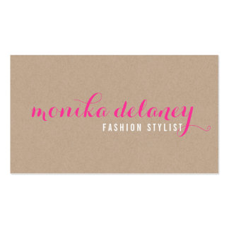 SIMPLE SCRIPT TYPE stylish trendy eco kraft pink Business Card