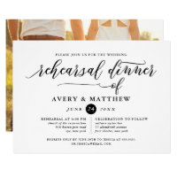 Simple Script Typography | Photo Rehearsal Dinner Invitation