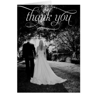 Simple Script Wedding Photo Thank You Card