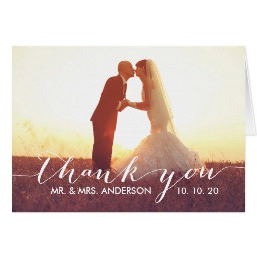simple script wedding thank you folded card zazzle