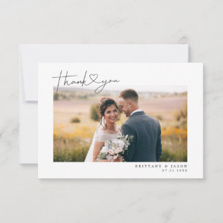 Simple Script with Heart Wedding Photo Thank You Card