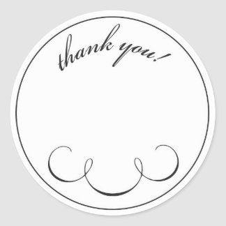 simple scroll thank you classic round sticker