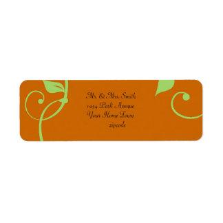 Simple Scrolling Vine Burnt Pumpkin Label