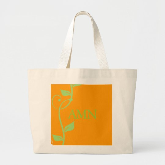 Simple Scrolling Vine Pumpkin MonogramTote Large Tote Bag