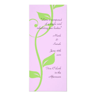 Simple Scrolling Vine Soft Pink Wedding Program Card