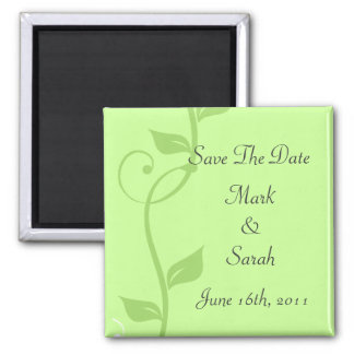 Simple Scrolling Vines Soft Green Save the Date Ma 2 Inch Square Magnet