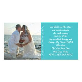 Simple Sea Blue Wedding Announcement