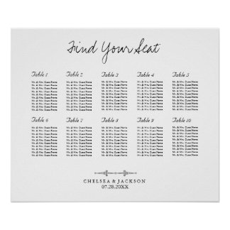 Simple Seating 10 Table Chart Poster